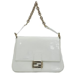 Pre-owned Fendi Patent Leather Mamma Forever Bag in white, with silver-tone hardware.