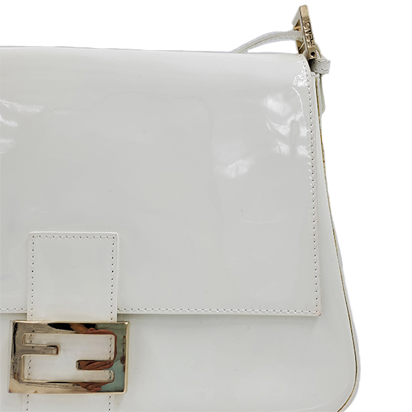 Close up details of pre-owned Fendi Patent Leather Mamma Forever Bag.