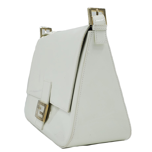 Side view of pre-owned Fendi Patent Leather Mamma Forever Bag in white, with silver-tone hardware.