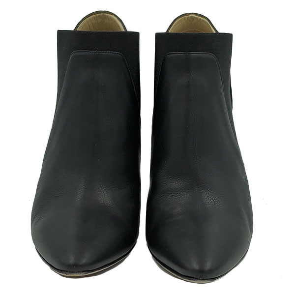 Front view of pre-owned Jimmy Choo Leather Pointed Toe Booties in black.