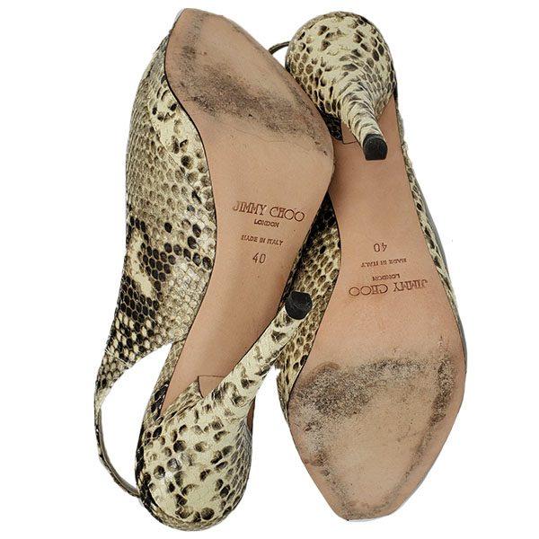 Soles of pre-owned Jimmy Choo Peep-toe Slingback Sandals.