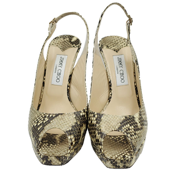 Front view of pre-owned Jimmy Choo Peep-toe Slingback Sandals in black and grey snakeskin.