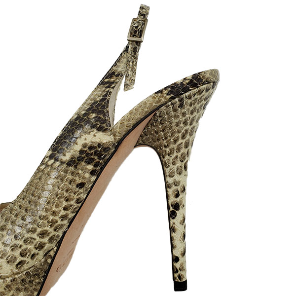 Close up back view of pre-owned Jimmy Choo Peep-toe Slingback Sandals in black and grey snakeskin.