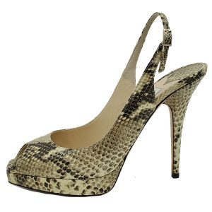 Pre-owned Jimmy Choo Peep-toe Slingback Sandals in black and grey snakeskin.