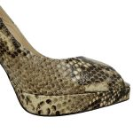 Close up front view of pre-owned Jimmy Choo Peep-toe Slingback Sandals in black and grey snakeskin.
