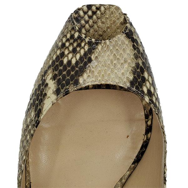 Top view of pre-owned Jimmy Choo Peep-toe Slingback Sandals in black and grey snakeskin.