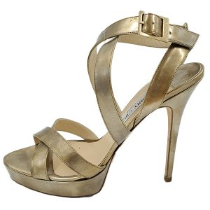 Pre-owned Jimmy Choo Strappy Sandals in gold, with adjustable buckle.