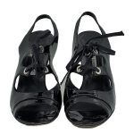 Pre-owned lace-up Manolo Blahnik Patent Leather Sandals in black.