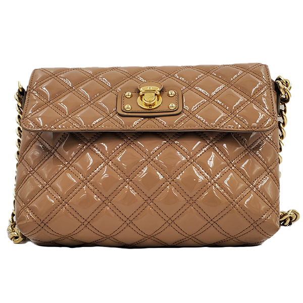 Pre-owned Marc Jacob Patent Leather Quilted Single Bag in caramel, with gold-tone hardware.