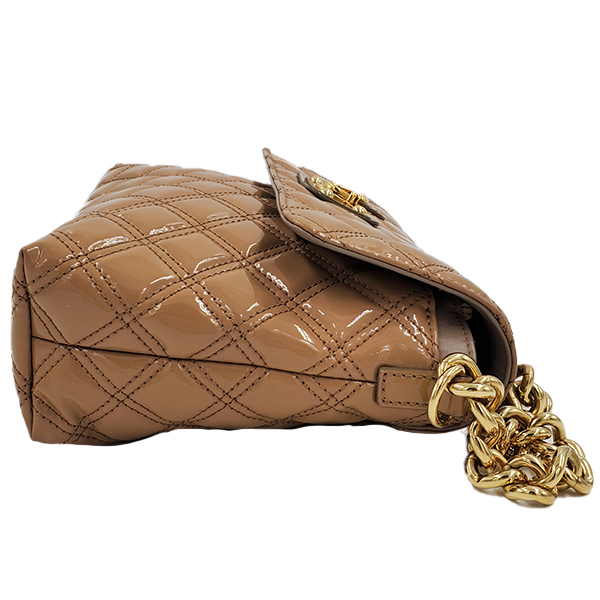 Side view of pre-owned Marc Jacob Patent Leather Quilted Single Bag in caramel, with gold-tone hardware.