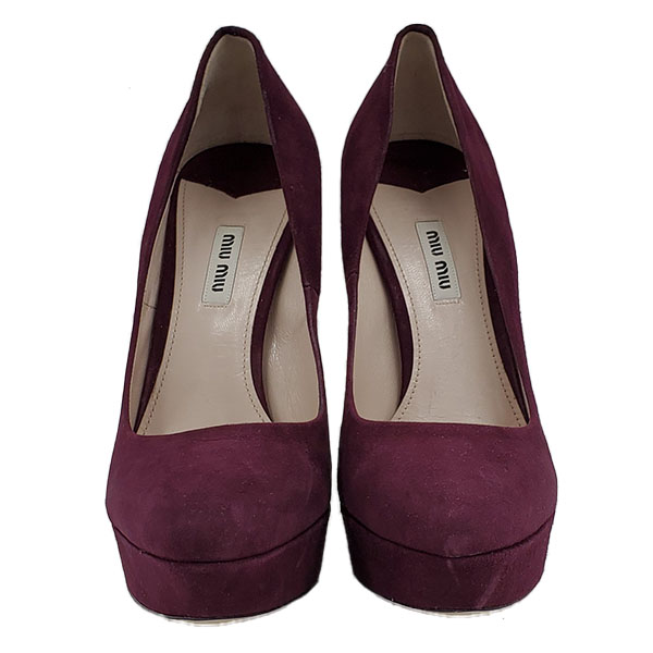 Front view of pre-owned Miu Miu Suede Platform Pumps in purple, with slightly pointed toe.