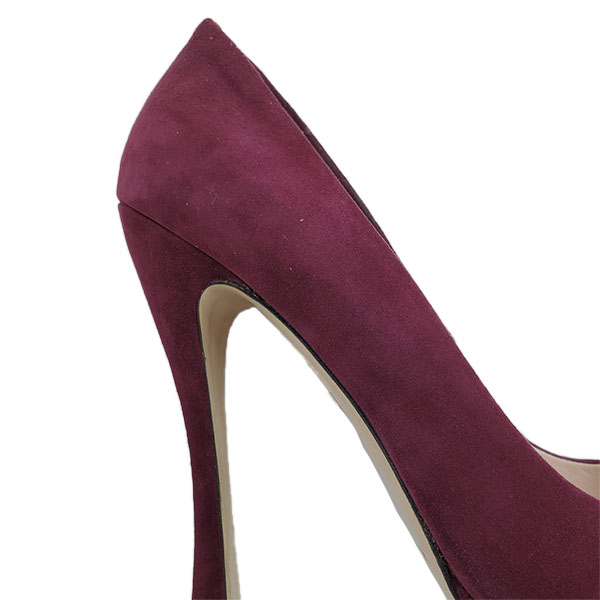 Back view of pre-owned Miu Miu Suede Platform Pumps in purple, with thick heels.