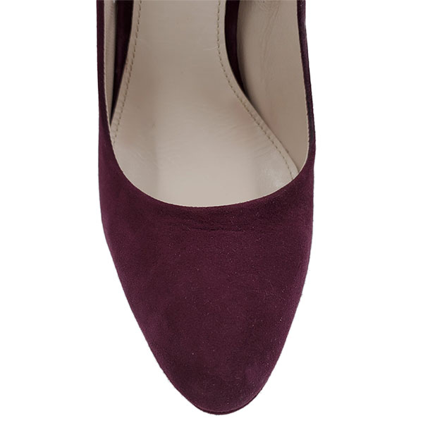 Top view of pre-owned Miu Miu Suede Platform Pumps in purple, with slightly pointed toe.