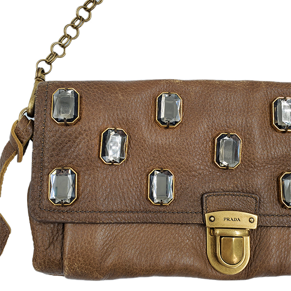 Close up details of pre-owned Prada Pietre Jeweled Leather Chain Clutch Shoulder Bag.