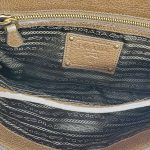 Interior of pre-owned Prada Pietre Jeweled Leather Chain Clutch Shoulder Bag.
