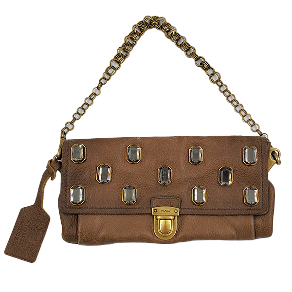 Pre-owned Prada Pietre Jeweled Leather Chain Clutch Shoulder Bag in brown, with chain shoulder strap.