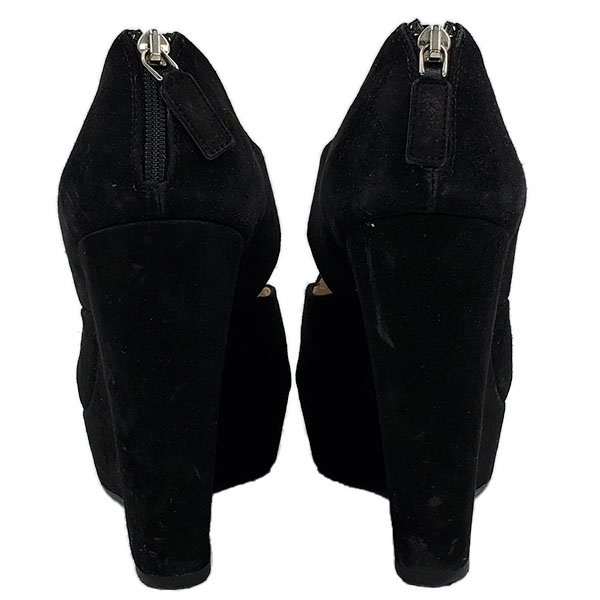 Back view of pre-owned Prada Suede Wedge Sandals in black, with back zip closure.
