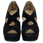 Front view of pre-owned Prada Suede Wedge Sandals in black, with crisscross design.