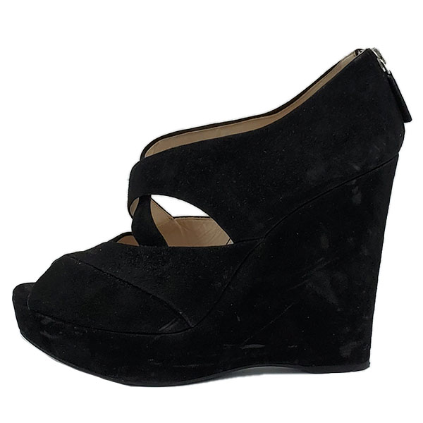 Pre-owned Prada Suede Wedge Sandals in black, with back zip closure.