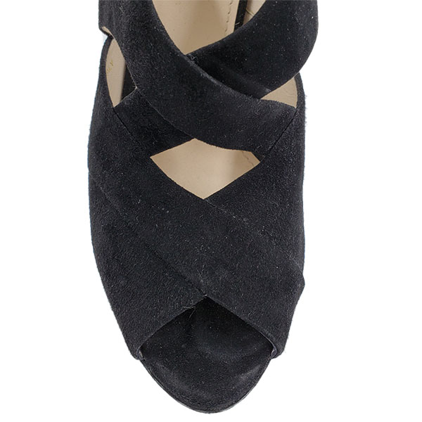 Top view of pre-owned Prada Suede Wedge Sandals in black, with crisscross design.