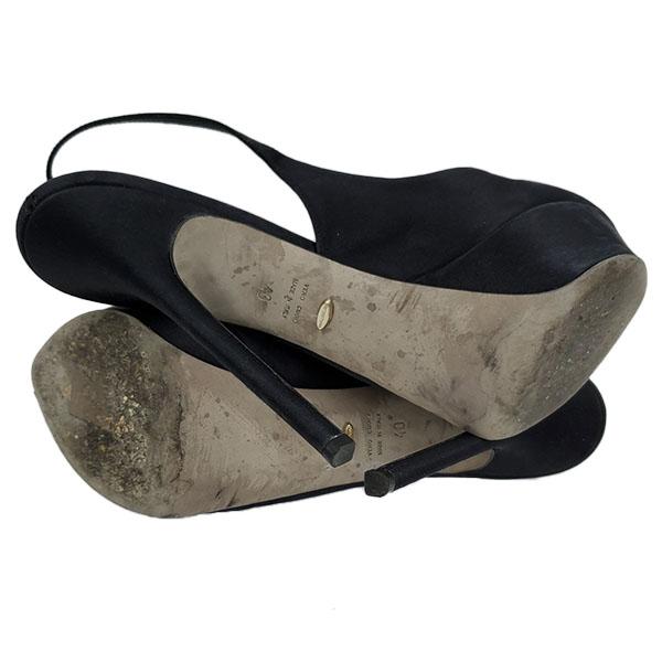 Soles of pre-owned Sergio Rossi Satin Peep-toe Heels.