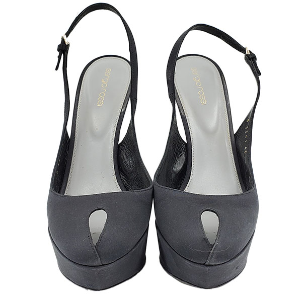 Front view of pre-owned Sergio Rossi Satin Peep-toe Heels in black.
