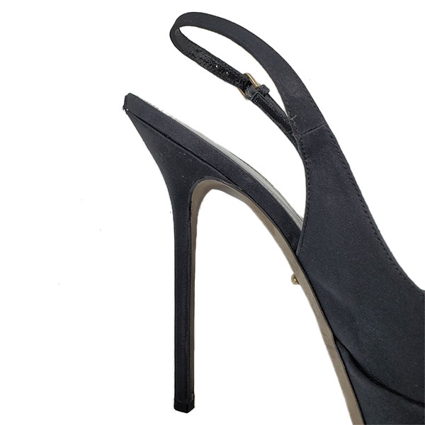 Close up back view of pre-owned Sergio Rossi Satin Peep-toe Heels in black, with adjustable strap.