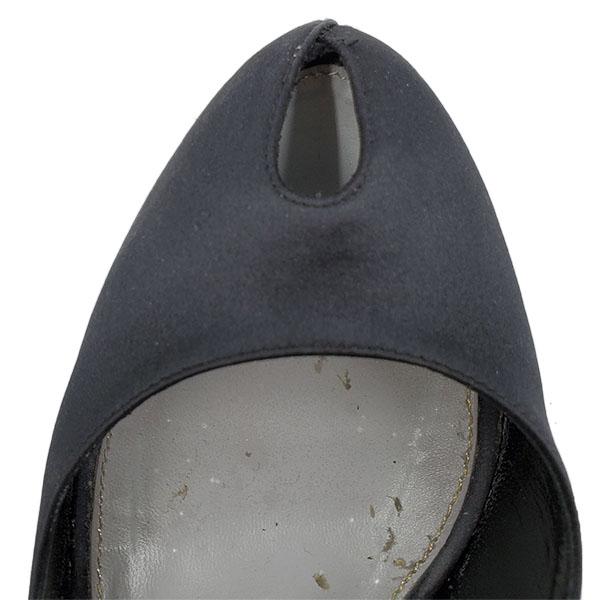 Top view of pre-owned Sergio Rossi Satin Peep-toe Heels in black.