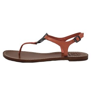 On sale pre-owned Tory Burch Violet Thong-Veg Leather Sandals in coral, with adjustable strap and ornate logo medallion.