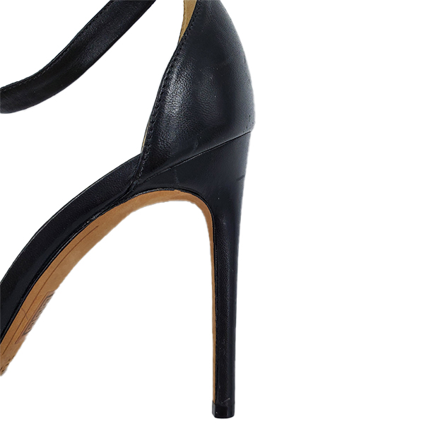 Close up back view of pre-owned Alexandre Birman Leather Strappy Heels in black.