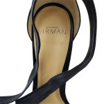 Top view of pre-owned Alexandre Birman Leather Strappy Heels in black, with leather ankle straps.