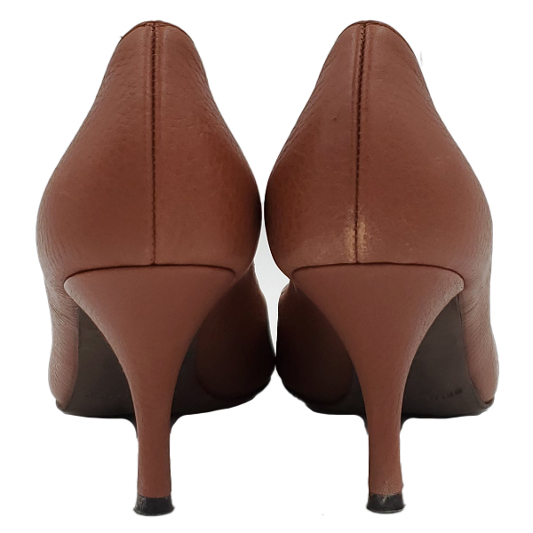 Back view of pre-owned Bruno Magli Leather Pointed Toe Pumps in brown.