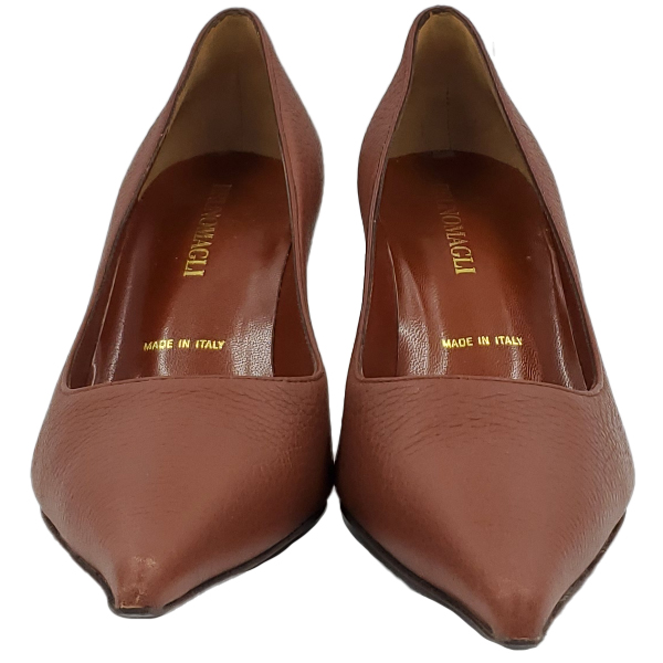 Front view of pre-owned Bruno Magli Leather Pointed Toe Pumps in brown, with pointed toes.