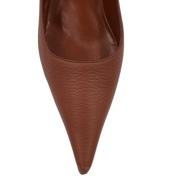 Top view of pre-owned Bruno Magli Leather Pointed Toe Pumps in brown, with pointed toe.