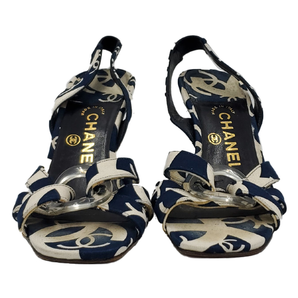 Front view of pre-owned Chanel Vintage Canvas Printed Sandals in navy and white.