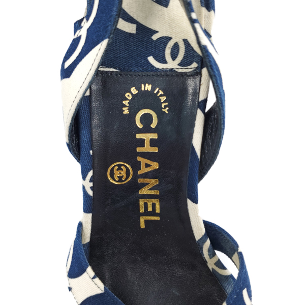Logo of pre-owned Chanel Vintage Canvas Printed Sandals.