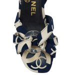 Top view of pre-owned Chanel Vintage Canvas Printed Sandals in navy and white.