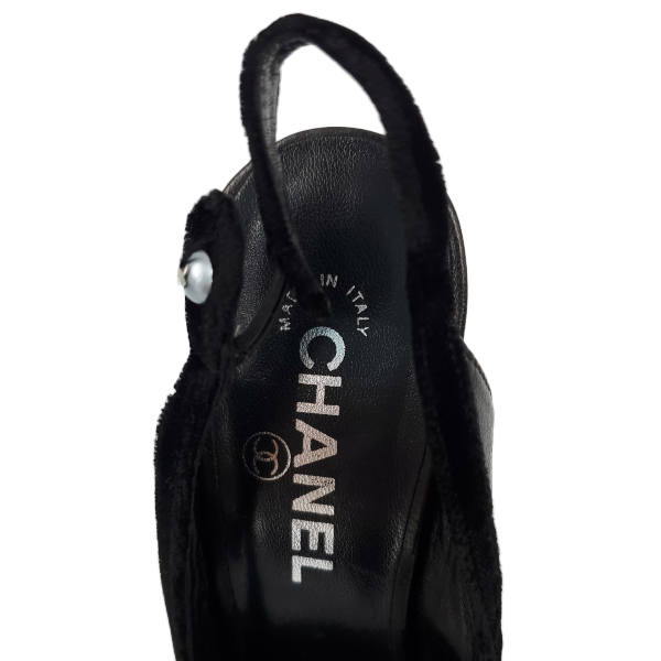 Logo of pre-owned Chanel Vintage Velvet Trim Sandals.