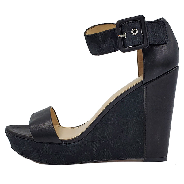 Pre-owned Coach Black Jerri Wedge Sandals in black, with logo print on wedges.