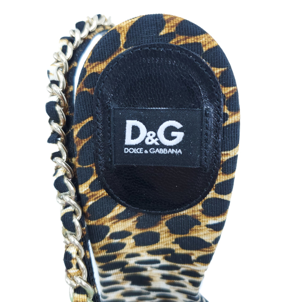 Logo of pre-owned Dolce & Gabbana Leopard Print Chain Sandals.