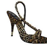 Pre-owned Dolce & Gabbana Leopard Print Chain Sandals with gold chain accents.