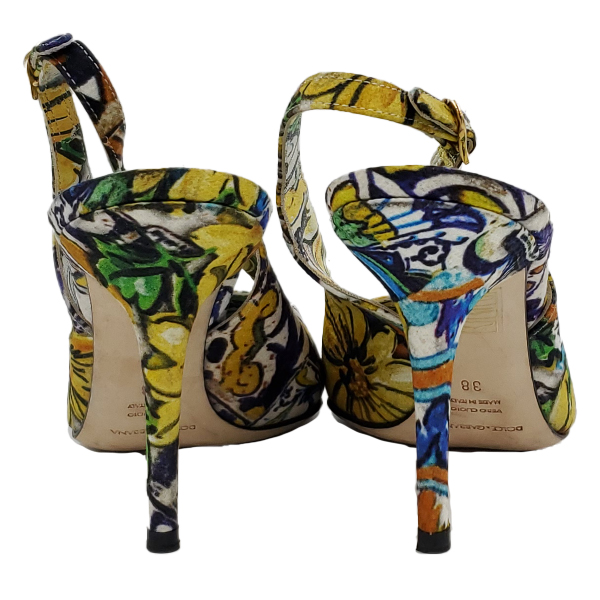 Back view of pre-owned Dolce & Gabbana Slingback Broccato Multicolour Sandals with floral print.
