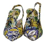 Front view of pre-owned Dolce & Gabbana Slingback Broccato Multicolour Sandals with floral print.