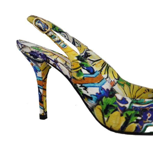 Close up back view of pre-owned Dolce & Gabbana Slingback Broccato Multicolour Sandals.