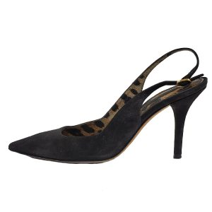 Pre-owned Dolce & Gabbana Suede Pointed Toe Pumps in black, with leopard print interior.