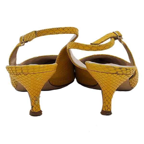 Back view of pre-owned Escada Leather Kitty Heels in textured yellow.