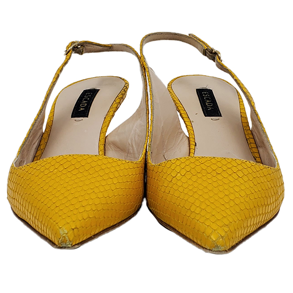 Front view of pre-owned Escada Leather Kitty Heels in textured yellow, with pointed toe.