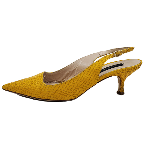 Pre-owned Escada Leather Kitty Heels in textured yellow, with pointed toe.