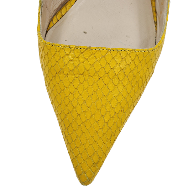 Top view of pre-owned Escada Leather Kitty Heels in textured yellow, with pointed toe.