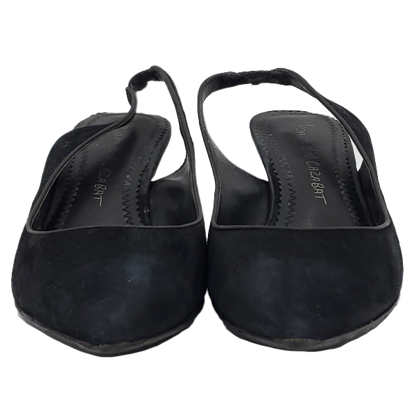 Front view of pre-owned Jean-Michael Cazabet Suede Slingback Sandals in black, with pointed toe.